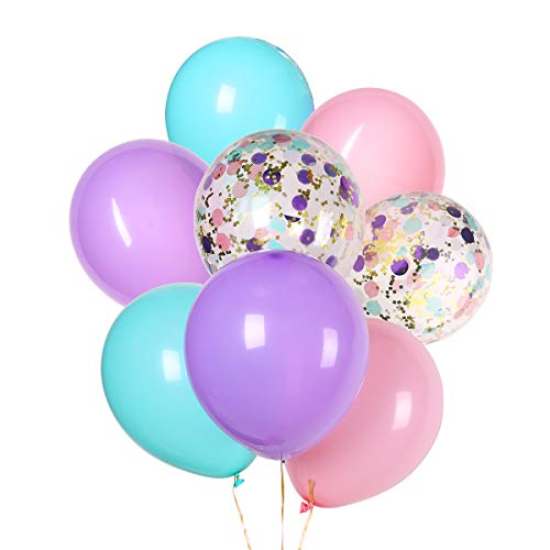 Unicorn Balloons Light Pink Blue Purple Assorted Balloons 12 inches Latex Balloon and Confetti Balloons for Baby Shower Bridal Shower Unicorn Birthday Party Supplies -