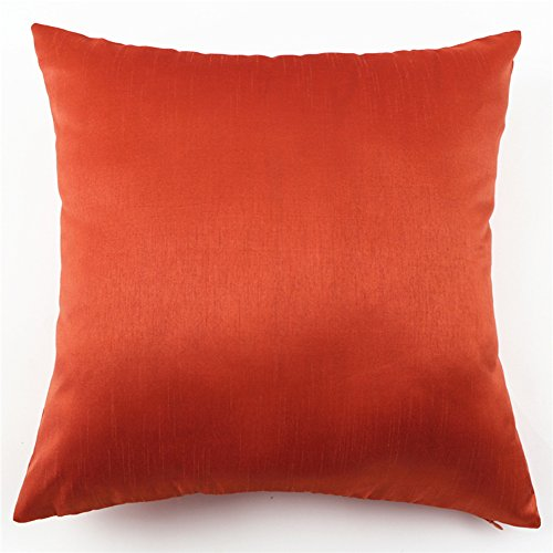 YJ Bear Solid Faux Silk Pillow Soft Cushion with Insert Standard Size Cushion Decorative Body Cushion With Invisible Zipper Orange 12