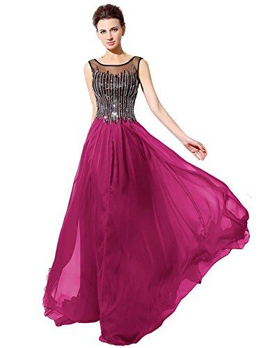 Sarahbridal Damen Lang Chiffon Abendkleider Perspektive Ausschnitt Paillette Partykleider Ballkleid SLX025 Fushcia xNZuq1X0p4