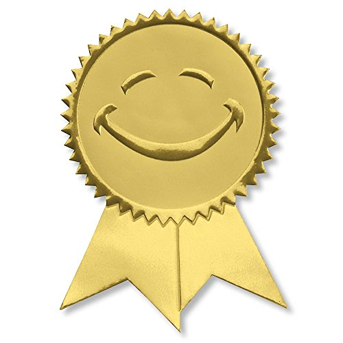 Award Gold Ribbon - Smiling Face Embossed Gold Foil Ribbon Certificate Seals, 2 Inch, Self Adhesive, 102 Count