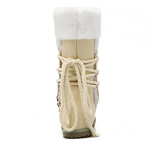 and 39 encaje HInvierno botas H white XIAOGANG botas goma botas desgaste nieve hebilla warm en planas beige frente blanco respirable mujeres negro la g5Rn07nBq