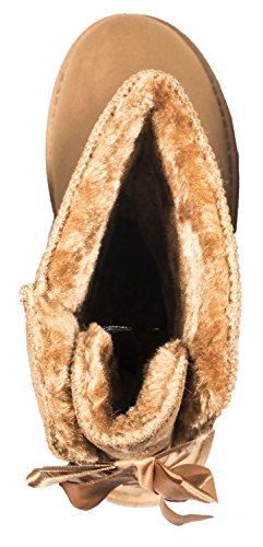 Mujer Botas Camel Schleife plisadas Elara UxqERR