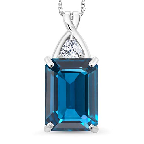 Gem Stone King 10K White Gold Pendant Emerald Cut London Blue Topaz and Timeless Brilliant Created Moissanite (IJK) 0.23ct (DEW)