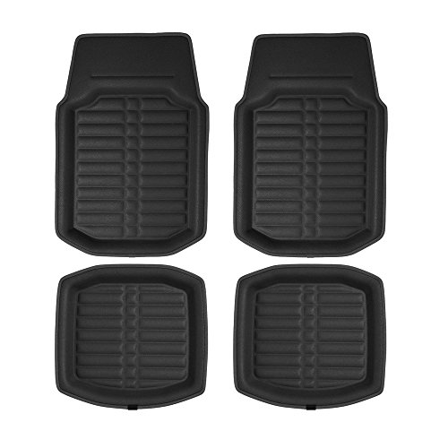 FH Group F14409 3D Faux Leather Floor Liners, Solid Black Color - Fit Most Car, Truck, SUV, or Van