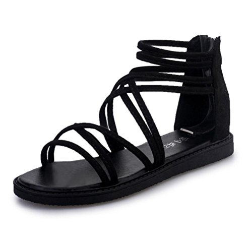 Sale Soft Jelly Sandals (HOT Sale ,AIMTOPPY Summer Women Flat Shoes Bandage Bohemia Leisure Lady Sandals Peep-Toe Outdoor Shoes (US:8, Black))