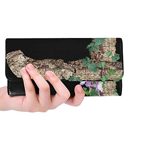 Unique Custom Alphabet Letter Rustic Timber Bark Women Trifold Wallet Long Purse Credit Card Holder Case (Timber Folder)