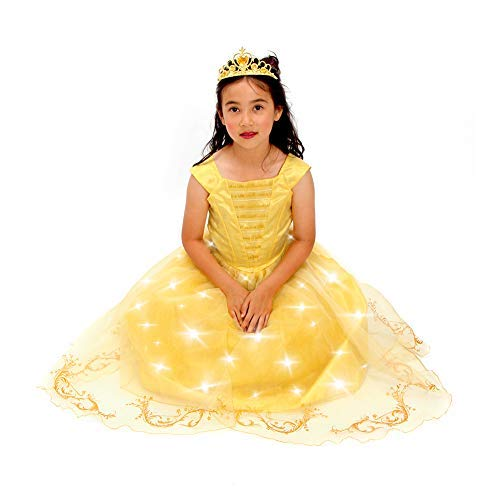 Yellow Belle The Beauty Princess Costume New Light up Gown Free Tiara T XS S M (S 4-6, Yellow) ()