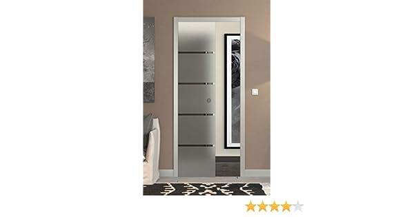 Puerta corredera desplegable de cristal satinado con rayas 90 x ...