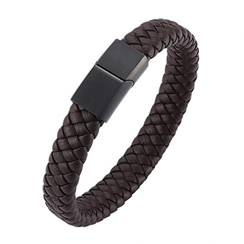 Barsly Womens Punk Men Jewelry Braided Leather Bracelet Men Handmade Bracelet Magnetic Clasp Male Wrist Band Gift Brown A Style Wearing Length 205mm