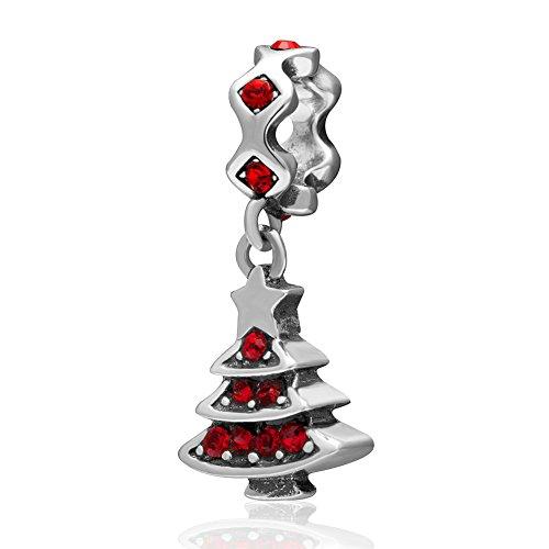 Ollia Jewelry 925 Sterling Silver Dangle Charm with Austrian Crystal Beautiful Christmas (Austrian Crystal Dangle Bracelet)