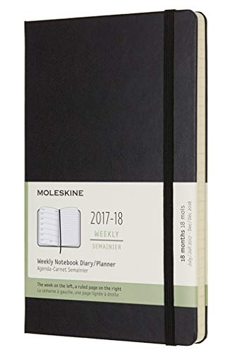 Moleskine 18 Month Weekly Planner, Large, Black, Hard Cover (5 x 8.25)