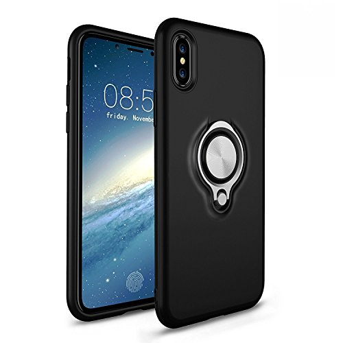 Price comparison product image iPhone X Case,NEWELL Cover Protective Silicone TPU Skin [Luxury Design] Shockproof Hard Case with 360 Degree Rotating Finger Ring Holder and Magnet Car Holder Cover Case for Apple iPhone X (Black)