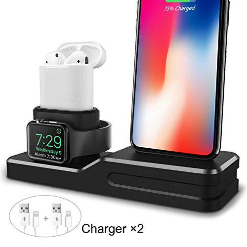 iPhone AirPods Apple Watch Charger, Premium Silicone Stand Charging Dock Station Holder, Support Apple Watch Night Stand Mode, AirPods, iPhone X/8/8 Plus/7/7 Plus/6/6s Plus (Includes 2 Gift Cables) by ODELENWA