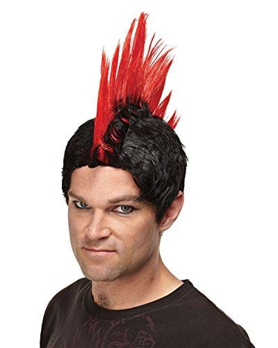 Emo Mens Gothic Wig Punk Rocker Scenester Theatre Costumes Accessory Mohawk Wig Color: Red (Punk Rocker Costume Ideas)