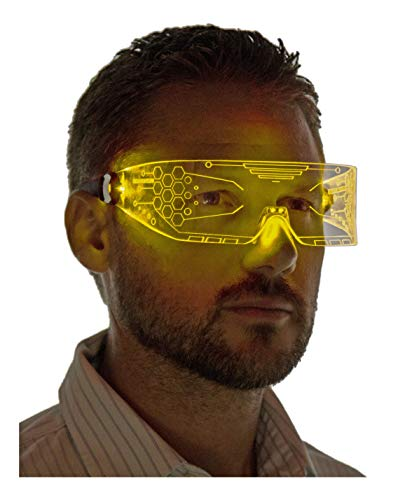 Neon Nightlife LED Light Up Glasses, Yellow | Cyberpunk Goggles, Rezz Visor Robocop Futuristic Electronic Lights