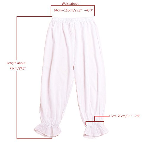 BLESSUME Victorian Lady Pantaloons Wthie Bloomers (Waist: About 64-110cm/25-43) by BLESSUME (Image #2)