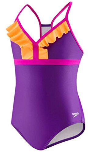 Speedo Big Girls One Piece Sporty Back Ruffle Swimsuit (7 Kids, Purple)