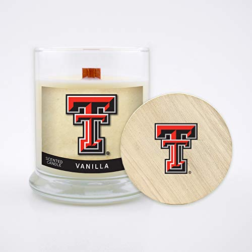 Worthy Promo NCAA Texas Tech Red Raiders 8 oz Vanilla Scented Soy Wax Candle, Wood Wick and Lid