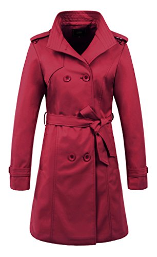 [ZSHOW Women's Double Breasted Trench Coat Lapel Jackets With Blet(US XL)Wine Red] (Red Coat Army Costume)