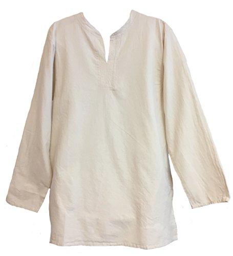 Yak & Yeti Tunic Hand-Loomed Cotton Kurta Split Neck Shirt (X-Large, Cream) Cotton Split Neck Tunic