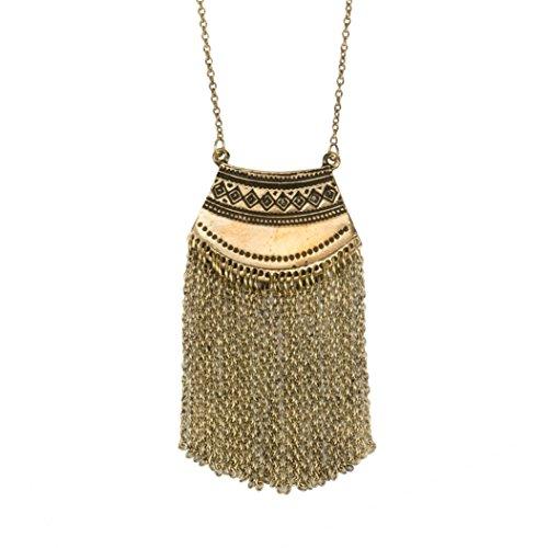 SPUNKYsoul Long Mystic Fringe Boho Tribal Ethnic Gold Pendant Necklace Collection...