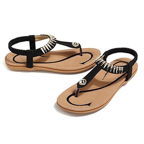 Socofy Damen Sandalen, Flip Flops Böhmische Sommer Sandals Flach Zehentrenner Stil T-Strap Offene Schuhe Strand Schuhe (Hersteller-Größentabelle IM Bild Beachten) Schwarz-A