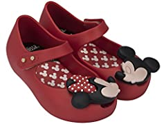 Precious mary jane toddler shoes. Minnie and mickey mouse kissing detail. Made in brazil, 100 percent recyclable plastic.