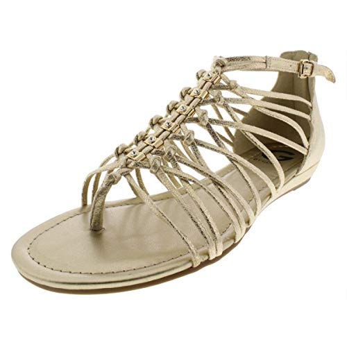 Metallic Guess Sandals (G by GUESS Womens Jonsie Open Toe Casual Strappy Sandals, Gold, Size 8.5)
