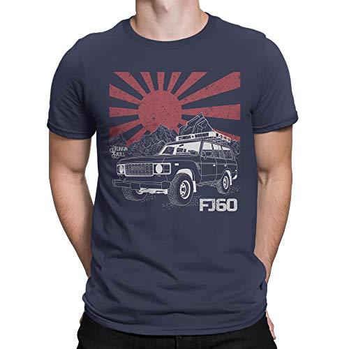 FJ60 Under The Rising Sun, Toyota Land Cruiser T-Shirt - Multiple Colors Navy