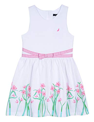 - Nautica Girls' Patterned Sleeveless Dress floral white 4T