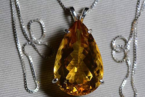 Pear Citrine Pendant - Citrine Necklace, Certified 25.29 Carat Citrine Pendant Appraised 1,275.00 Sterling Silver, Pear, Real Genuine Natural, November Birthstone