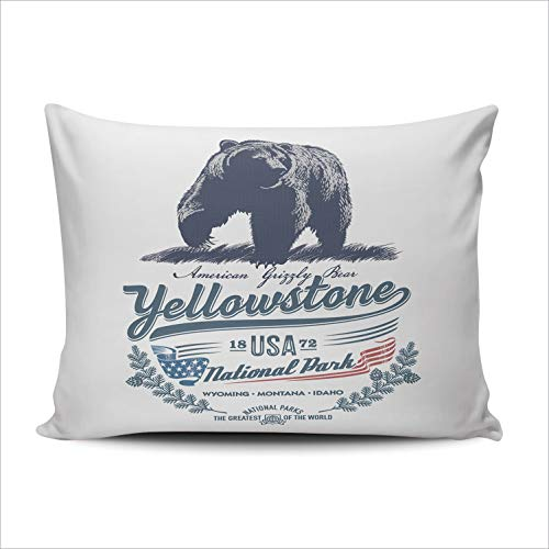 Fanaing Bedroom Custom Decor Grizzly Bear National Park Yellowstone Pillowcase Soft Zippered Throw Pillow Cover Cushion Case One Sided Printed Lumbar 12x20 ()