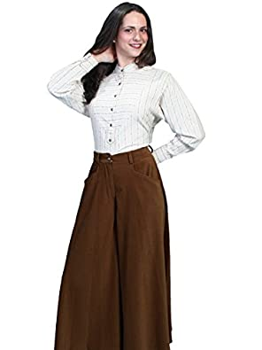 Victorian Skirts | Bustle, Walking, Edwardian Skirts Riding Split Skirt - Brown  AT vintagedancer.com