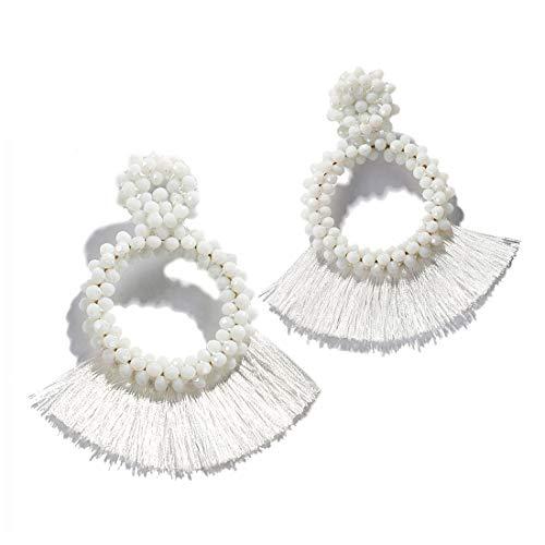 Dvacaman Hoop Tassel Earrings for Women - Statement Handmade Beaded Fringe Dangle Earrings, Idea Gift for Mom, Sister and Friend (White) ()