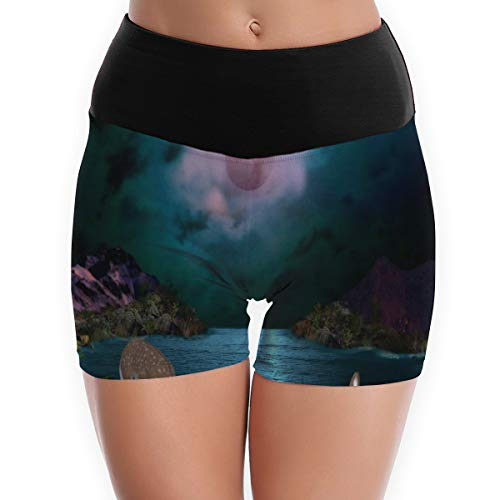 Compression Shorts Pink Moonrise Lakes Animals Deer High Waist Yoga Shorts Tummy Control Golf -