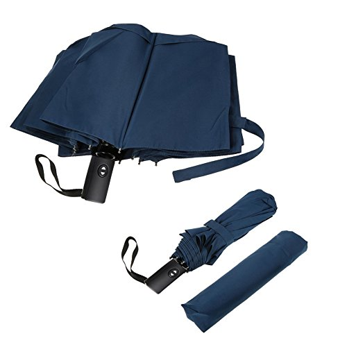 Cnhy Travel Umbrella Folding Large Automatic Golf Umbrellas Windproof 57 Inch Double Crown Cover Compact Easy Touch With Auto Open Close Sturdy And Portable  Blue