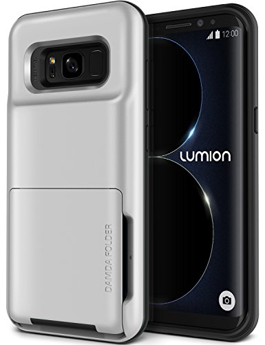 Galaxy S8 Plus Case, [HEAVY DUTY DROP PROTECTION] Hybrid Card Slot Holder Wallet Cover [Shock Absorption Cover] for Samsung Galaxy S8 Plus by Lumion (D.Folder - Metallic Silver)