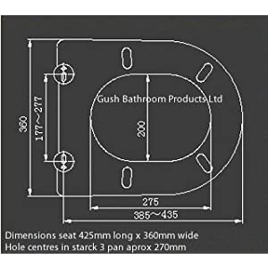 Gush Products Toilet seat designed to fit Duravit starck 3 standard pans with pan seat hole centres of 270mm. Soft close, quick release includes blind hole fixing plugs