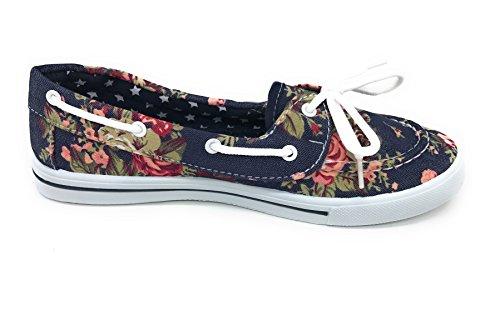 Blue Berry EASY21 Canvas Schnürschuh Flacher Slip on Boot Bequemer Toe Sneaker Tennisschuh Dunkle Denim-Blume