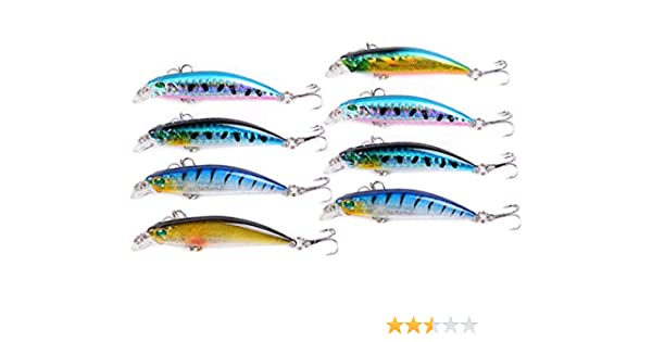 REYOK - Juego de 8 señuelos de pesca de pececillo 3D, línea láser ...