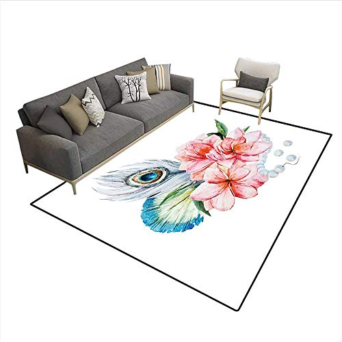 Floor Mat,Watercolor Peony Anemone Flowers Peacock Feather and Beads Artful Image,Rugs for Bedroom,Multicolor 6'x7' ()