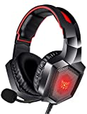RUNMUS Gaming Headset for PS4, Xbox One, PC Headset w/Surround Sound, Noise Canceling Over Ear Headphones with Mic & LED Light, Compatible with PS4, Xbox One, Nintendo Switch, PC, PS3, Mac, Laptop