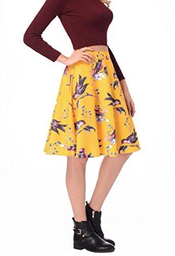 L Haute XIAOXAIO Femme HEFEI Jupe Couleur Taille Jaune plisse pour Taille nFBB4qHvR