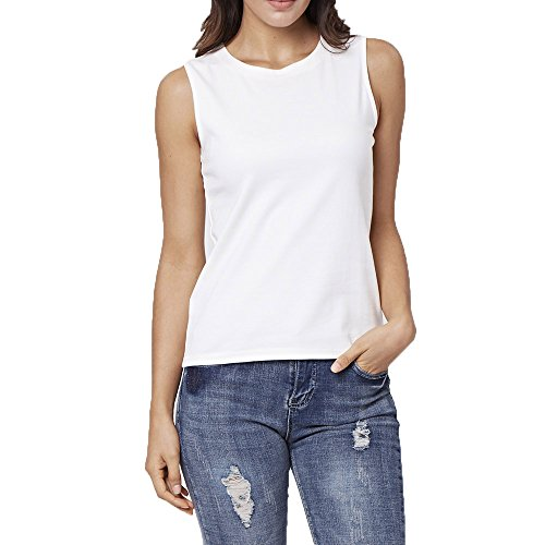 ENIDMIL Women's Casual Sleeveless High Neck Cami Tank Top (White, XL)