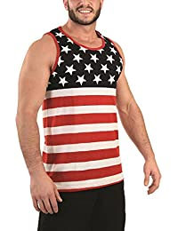 Licensed-Mart Originals Patriotic American US Flag Stripes and Stars Tank Top Shirt Adult Men's