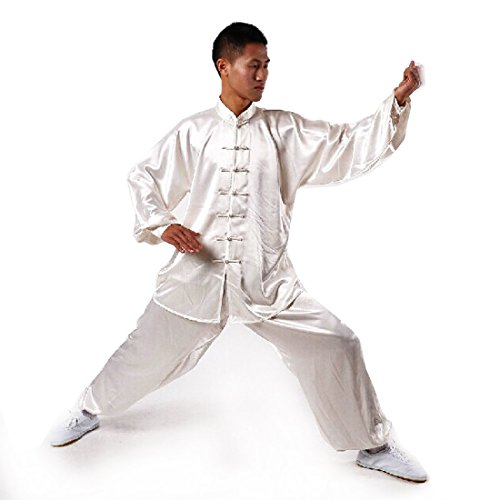 Andux Chinese Traditional Tai Chi Uniforms Kung Fu Clothing Unisex SS-TJF01 White (XL)