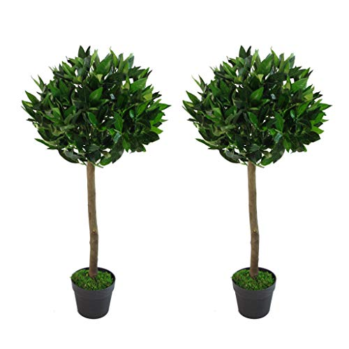 Leaf Pair of 90cm (3ft) Plain Stem Artificial Topiary Bay Laurel Ball Trees