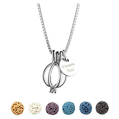 Top Plaza Natural Lava Rock Stone Aromatherapy Essential Oil Diffuser Necklace Silver Locket Pendant With 6 Dyed Lava Beads 41R4 b1tv8L