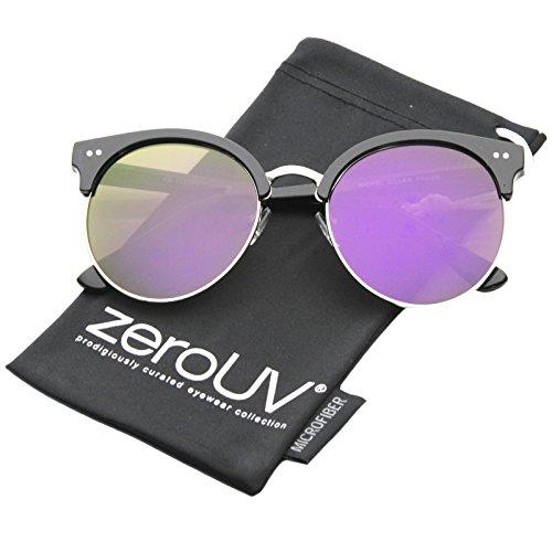 zeroUV - Womens Round Oversize Moon Cut Flash Mirror Flat Lens Half Frame Sunglasses (Black-Silver / - Round Sunglasses Frame Half