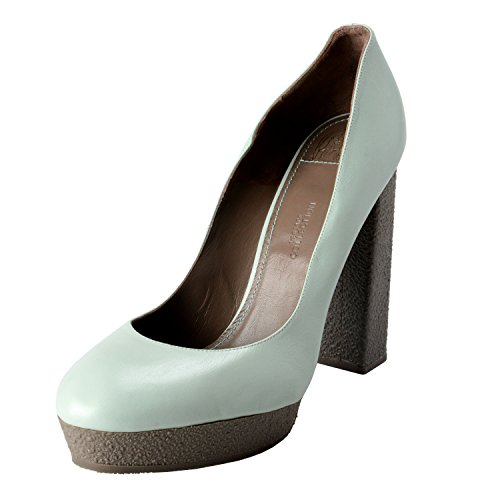 Versace Pumps Leather (Versace Collection Women's Mint Green Leather High Heel Pumps Shoes US 10 IT 41)